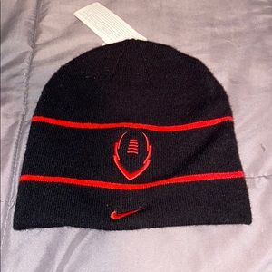 Nike black with red beanie football embroidered